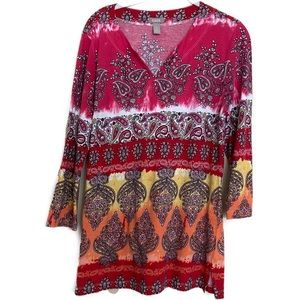Chico's Long Sleeve Paisley Top sz 1 Womens M - 8